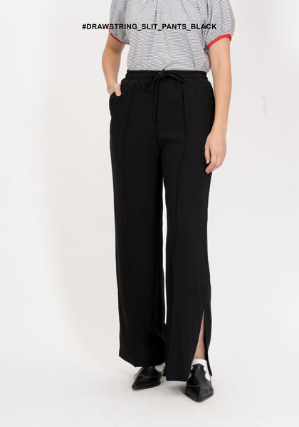Drawstring Slit Pants Black