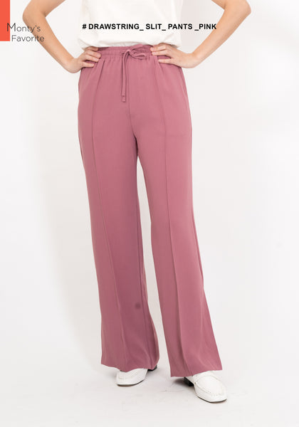 Drawstring Slit Pants Pink