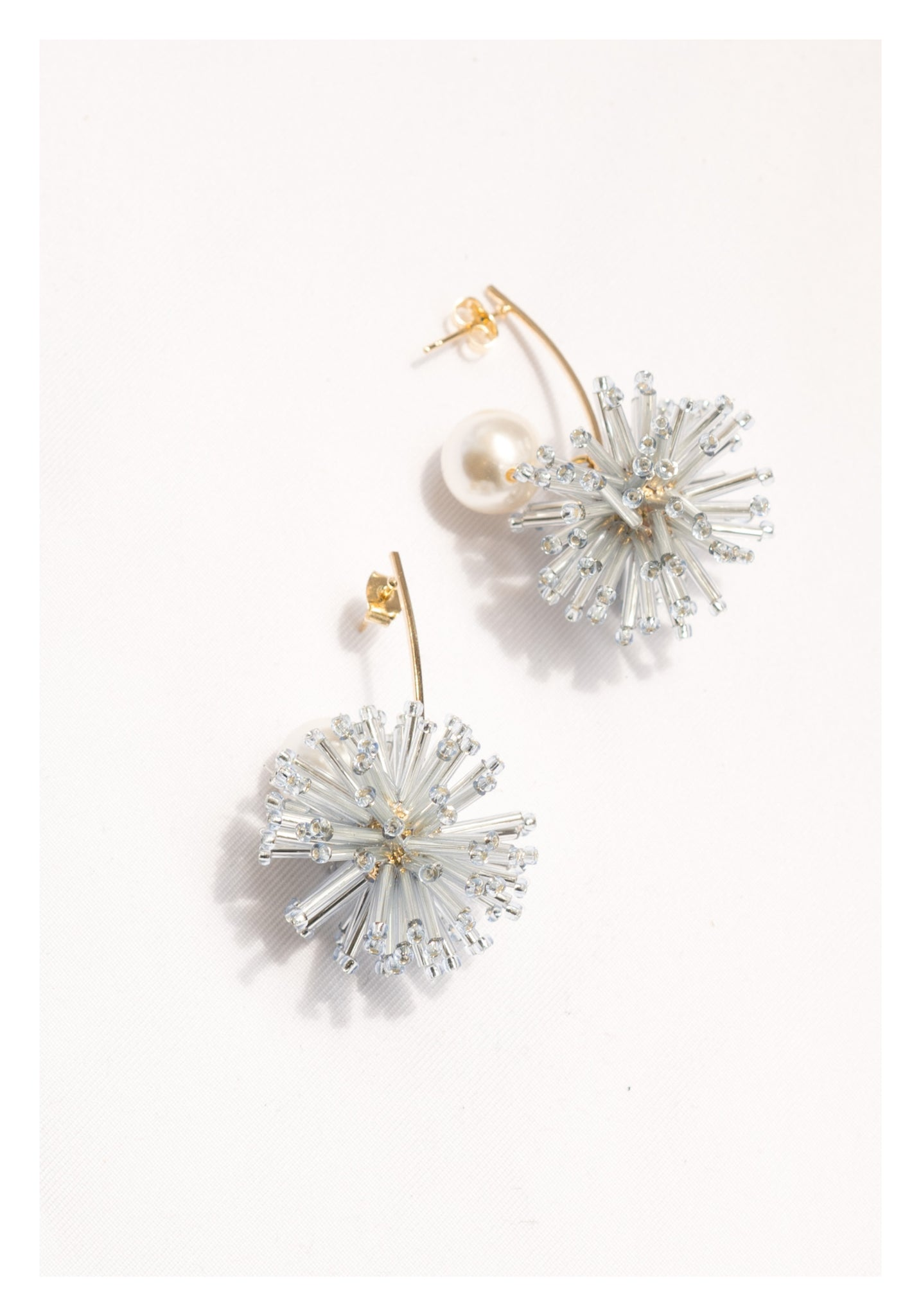 Dripping Firework With Pearl Earrings Silver - whoami