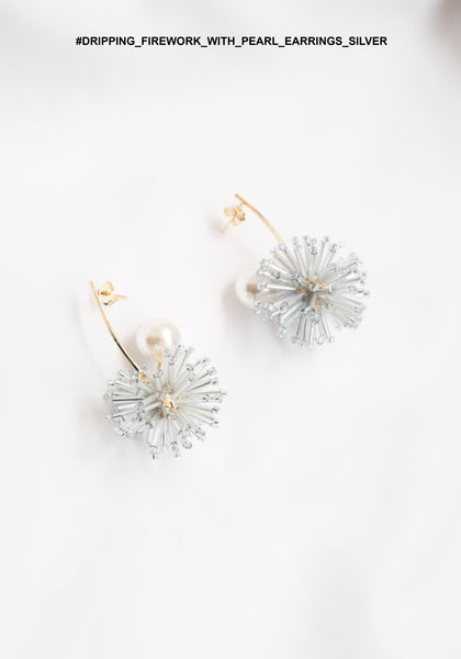 Dripping Firework With Pearl Earrings Silver