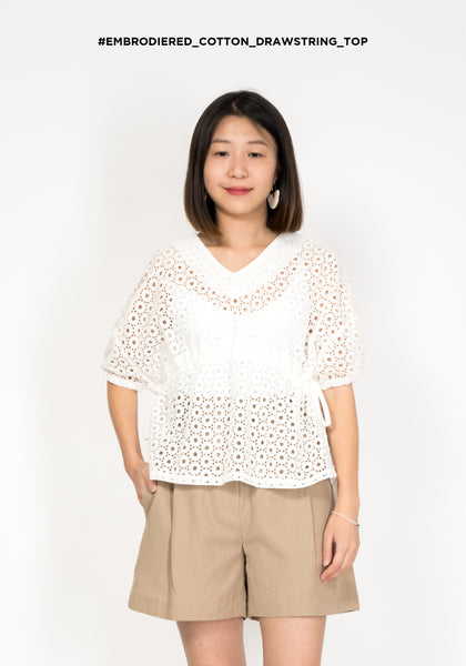 Embroidered Cotton Drawstring Top - whoami