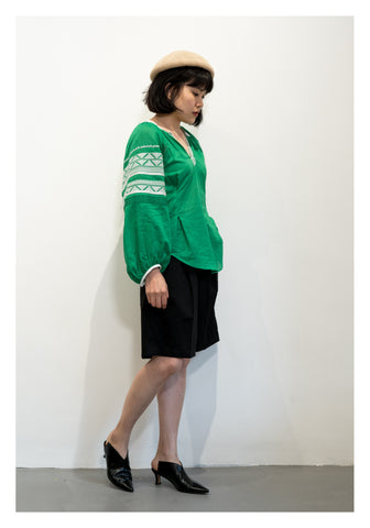 Ethnic Linen Blouse Green - whoami