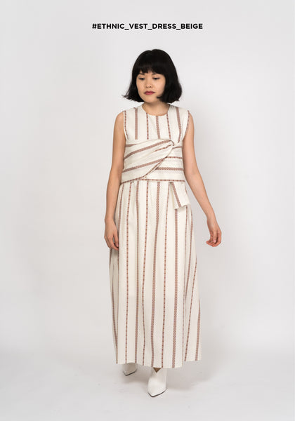 Ethnic Vest Dress Beige - whoami