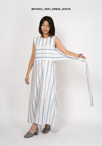 Ethnic Vest Dress White - whoami
