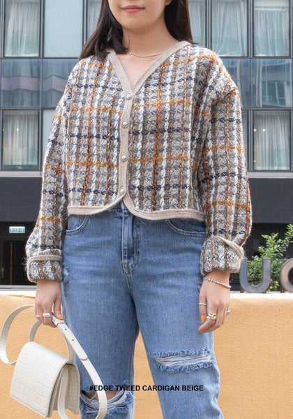 Edge Tweed Cardigan Beige - whoami