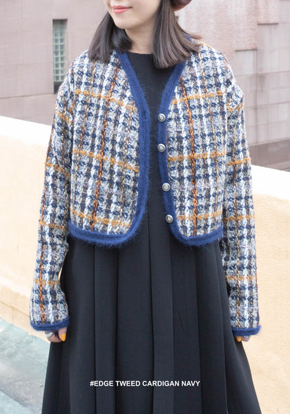 Edge Tweed Cardigan Navy - whoami