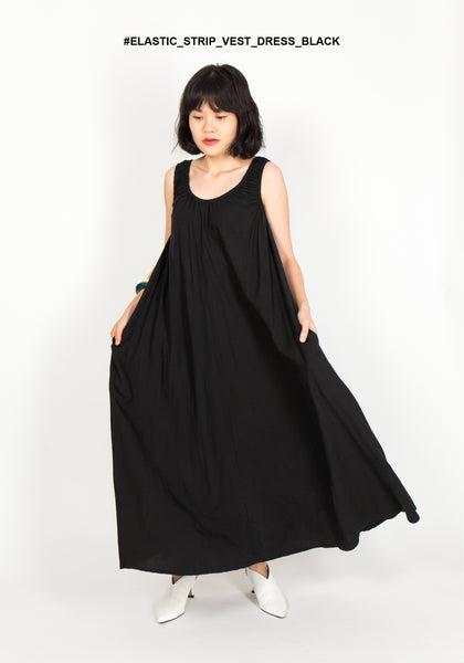 Elastic Strap Vest Dress Black