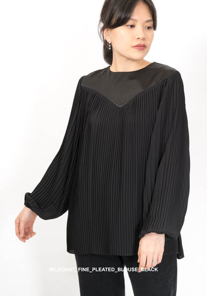 Elegant Fine Pleated Blouse Black - whoami