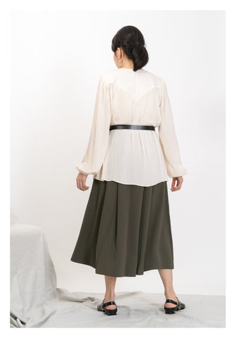 Elegant Fine Pleated Blouse Ivory - whoami