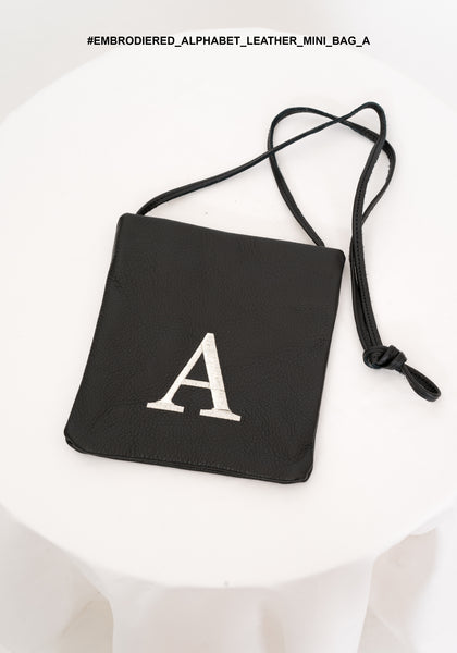 Embroidered Alphabet Leather Mini Bag A