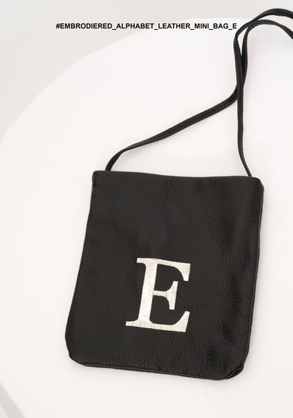 Embroidered Alphabet Leather Mini Bag E