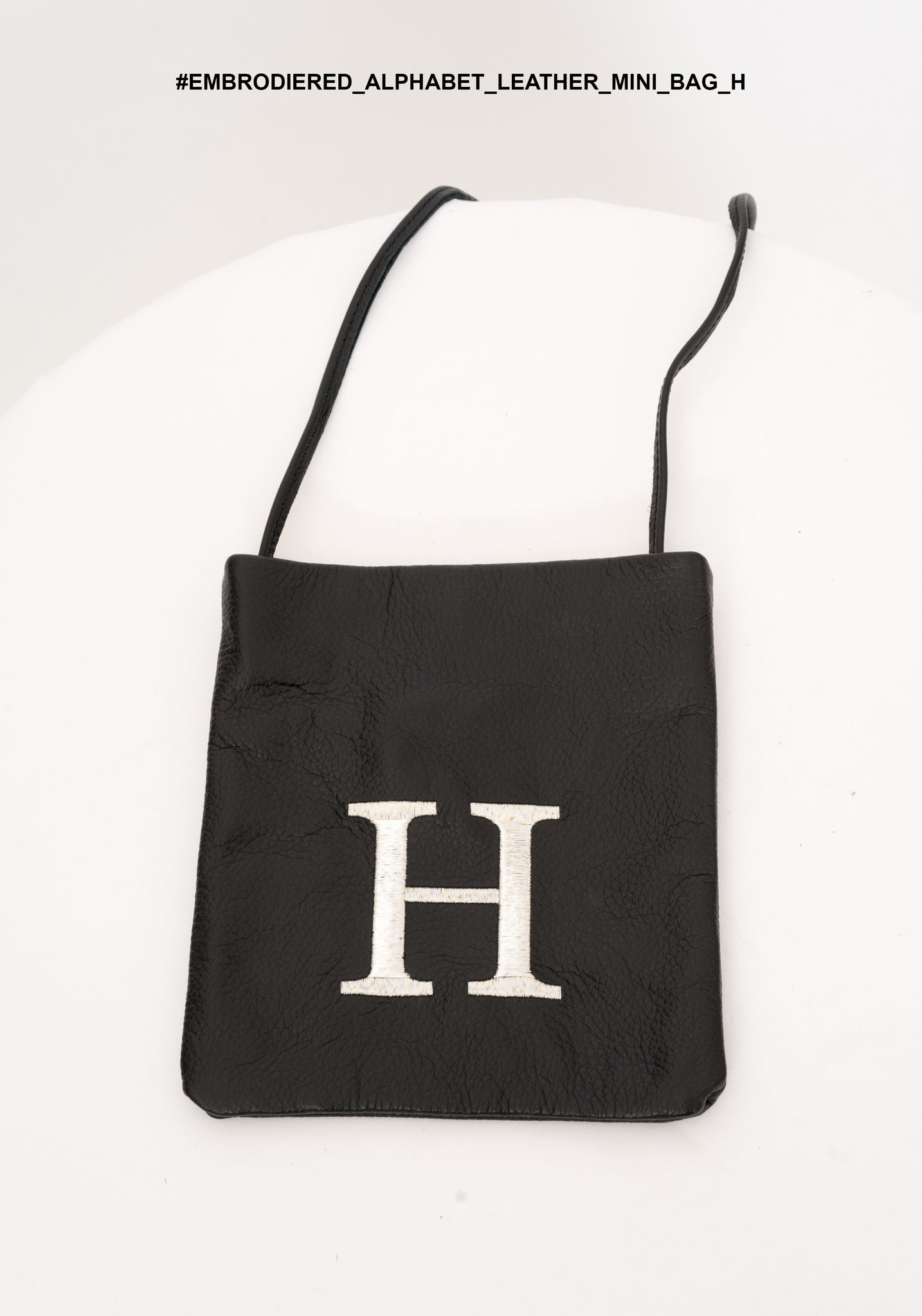 Embroidered Alphabet Leather Mini Bag H - whoami