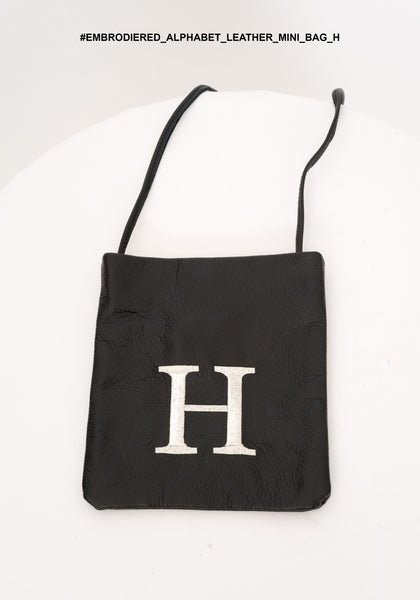 Embroidered Alphabet Leather Mini Bag H