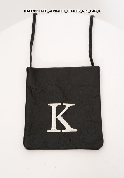Embroidered Alphabet Leather Mini Bag K