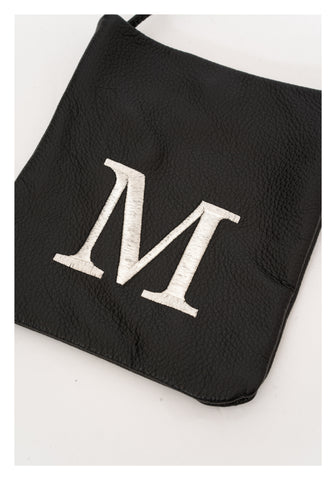 Embroidered Alphabet Leather Mini Bag M