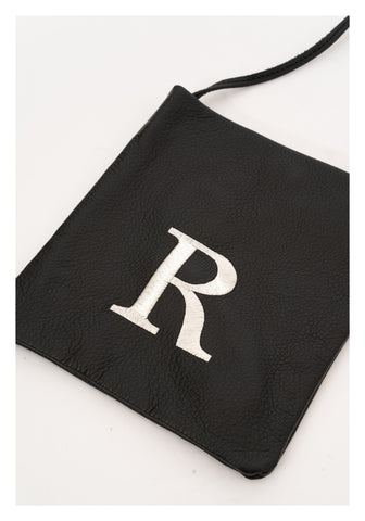 Embroidered Alphabet Leather Mini Bag R
