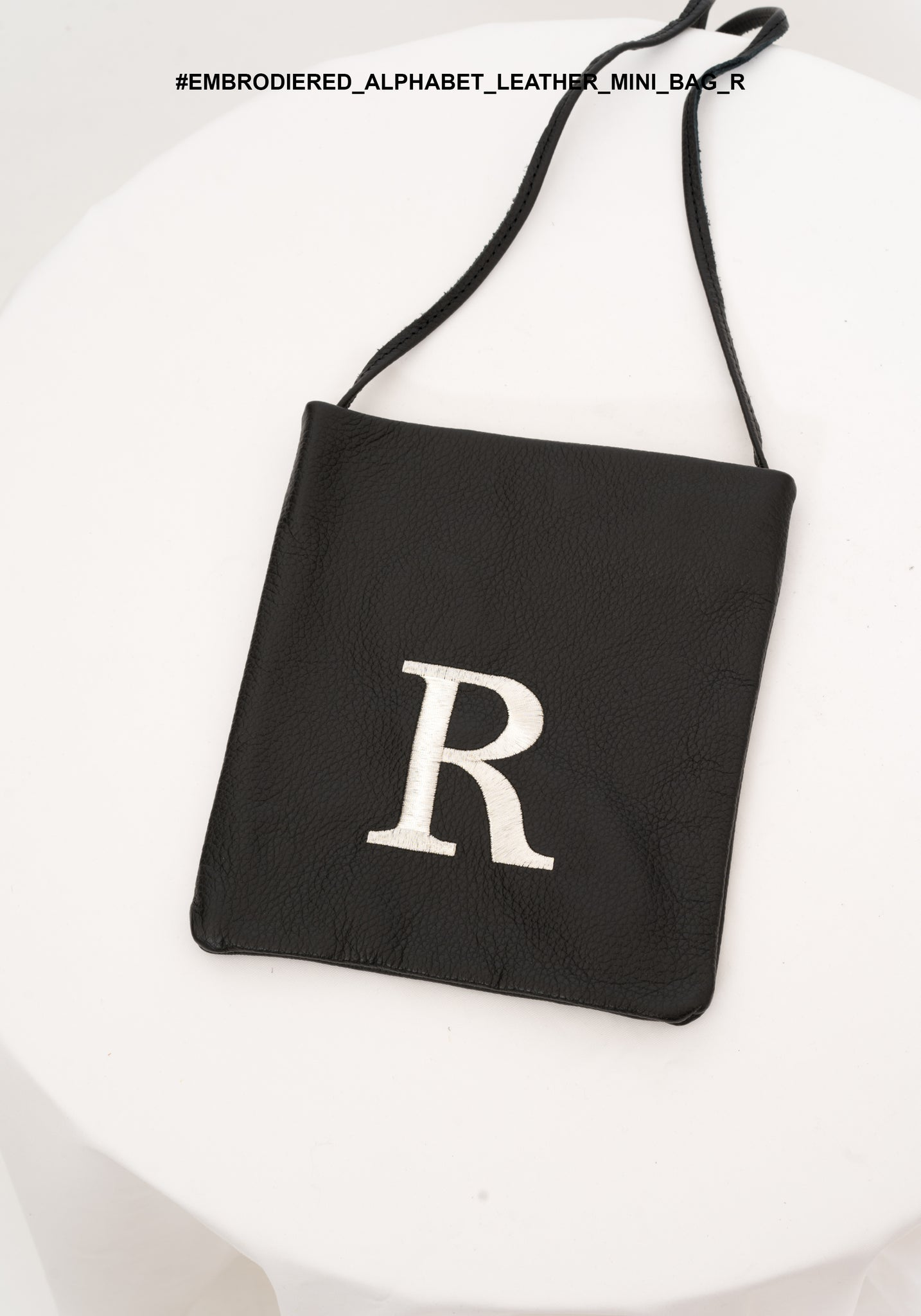 Embroidered Alphabet Leather Mini Bag R - whoami