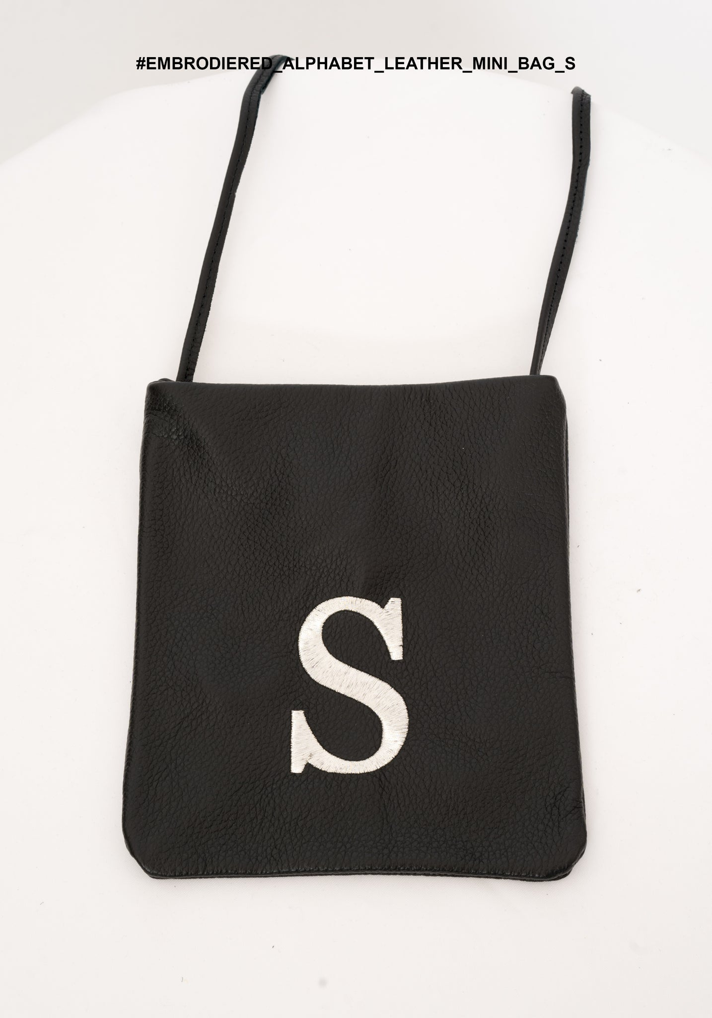 Embroidered Alphabet Leather Mini Bag S - whoami