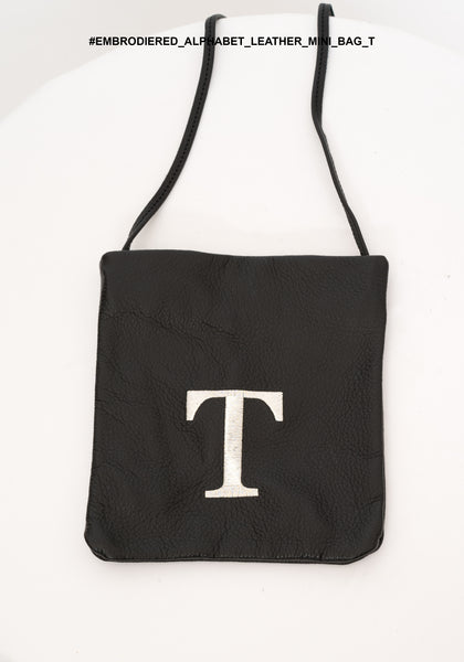 Embroidered Alphabet Leather Mini Bag T