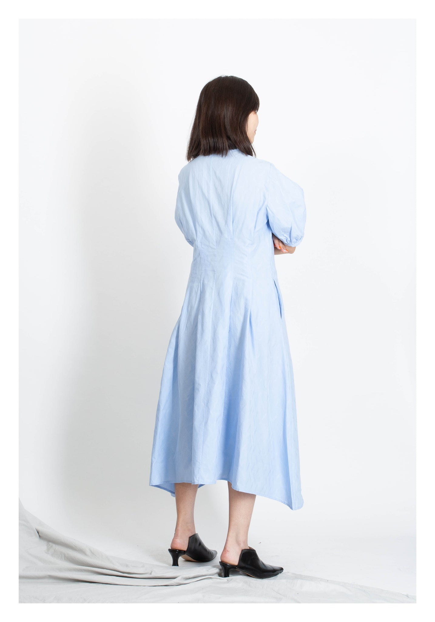 Embroidered Pattern Slim Cut Dress Light Blue - whoami