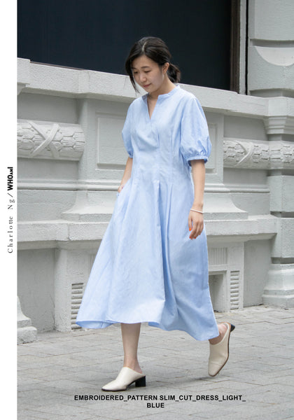 Embroidered Pattern Slim Cut Dress Light Blue