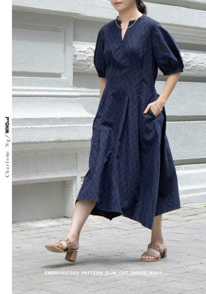 Embroidered Pattern Slim Cut Dress Navy