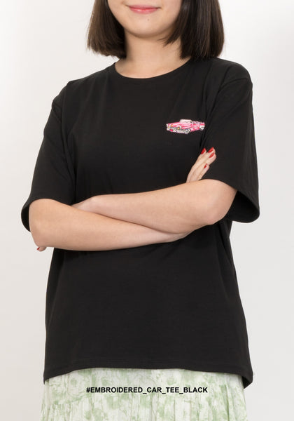 Embroidered Car Tee Black - whoami
