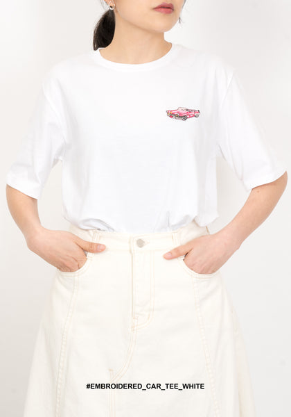Embroidered Car Tee White