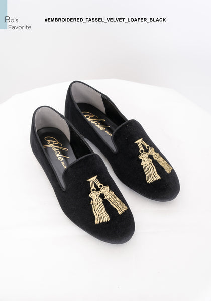 Embroidered Tassel Velvet Loafer Black - whoami