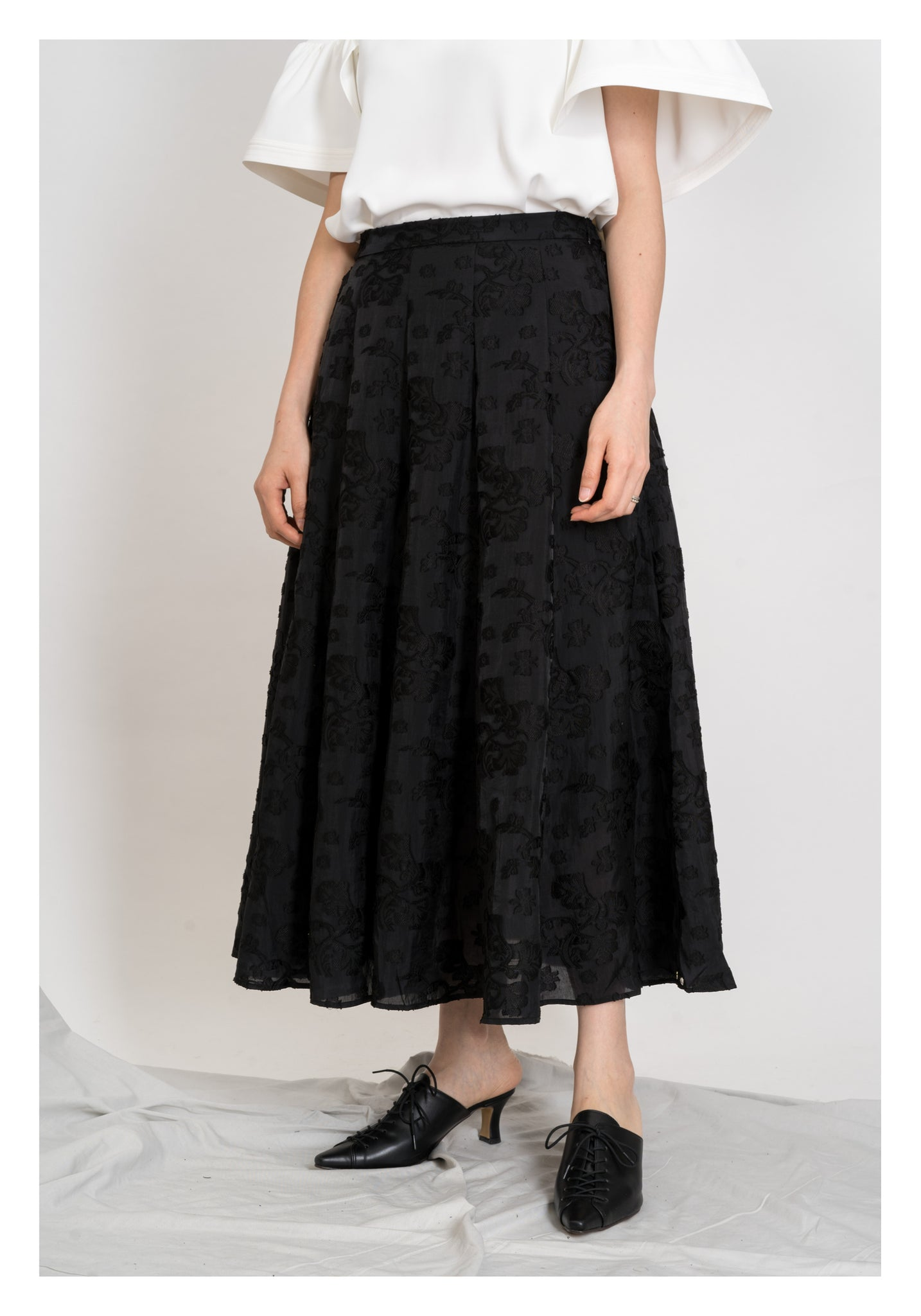 Emma Floral Patched Skirt Black - whoami