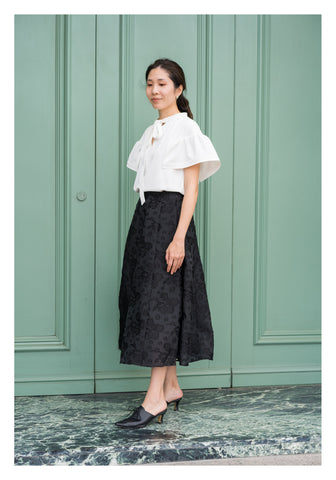 Emma Floral Patched Skirt Black