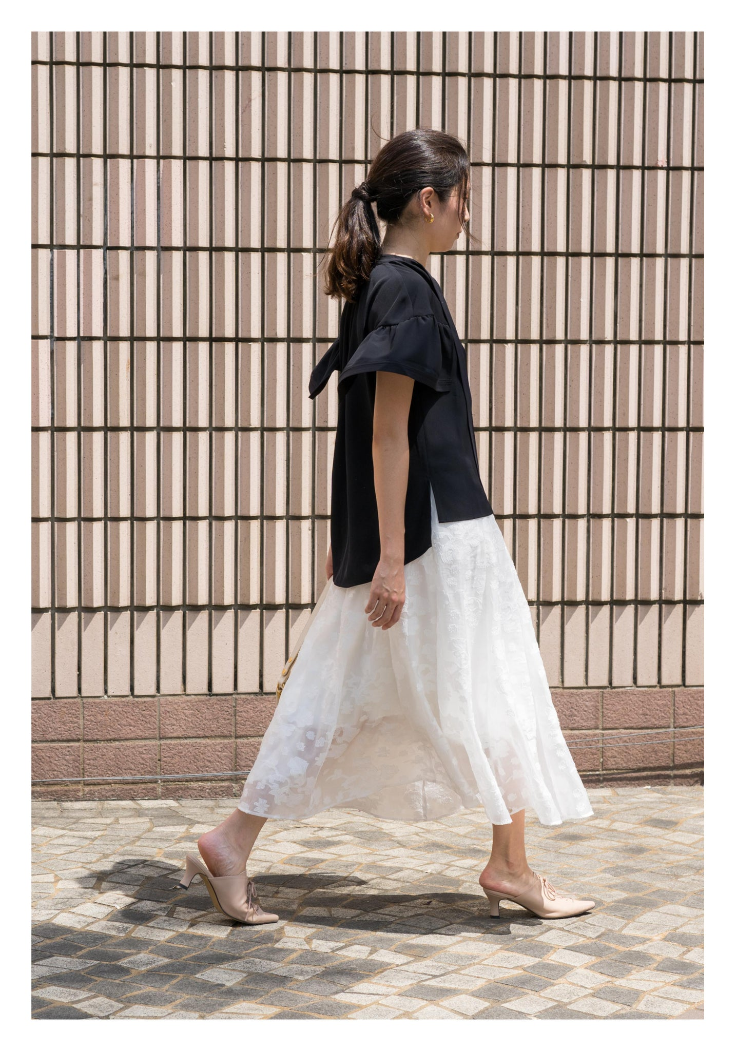 Emma Floral Patched Skirt White - whoami