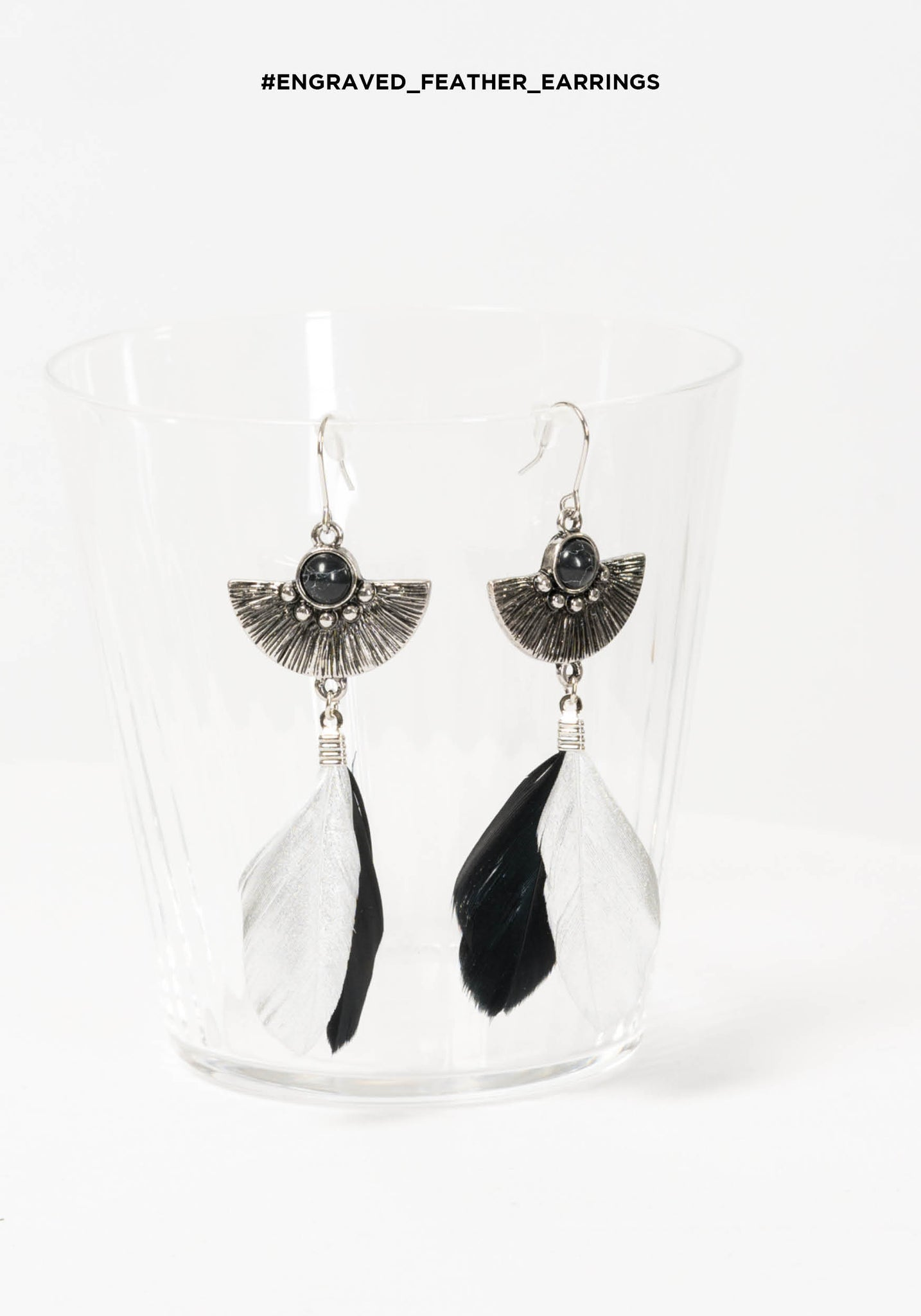 Engraved Feather Earrings