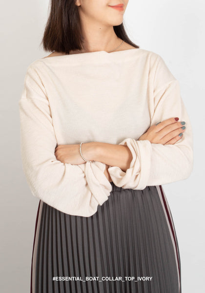 Essential Boat Collar Top Ivory - whoami