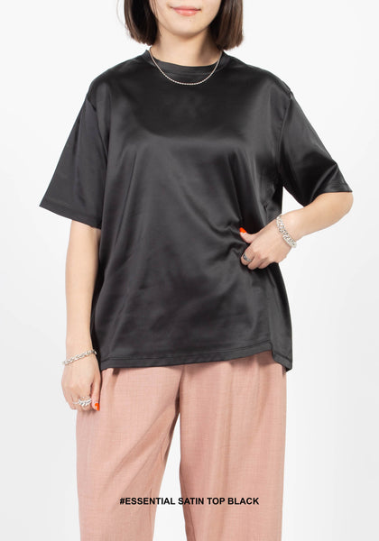 Essential Satin Top Black