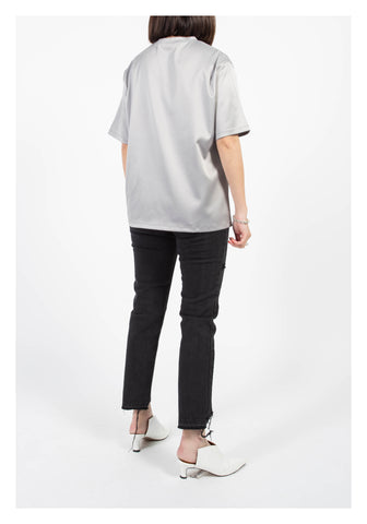 Essential Satin Top Silver Grey