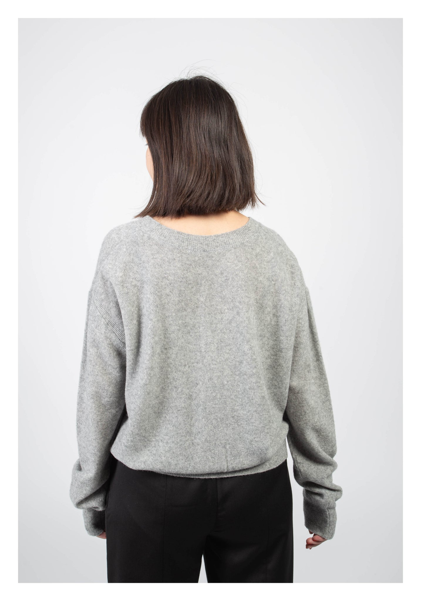 Essential V Neck Knitted Cardigan Grey