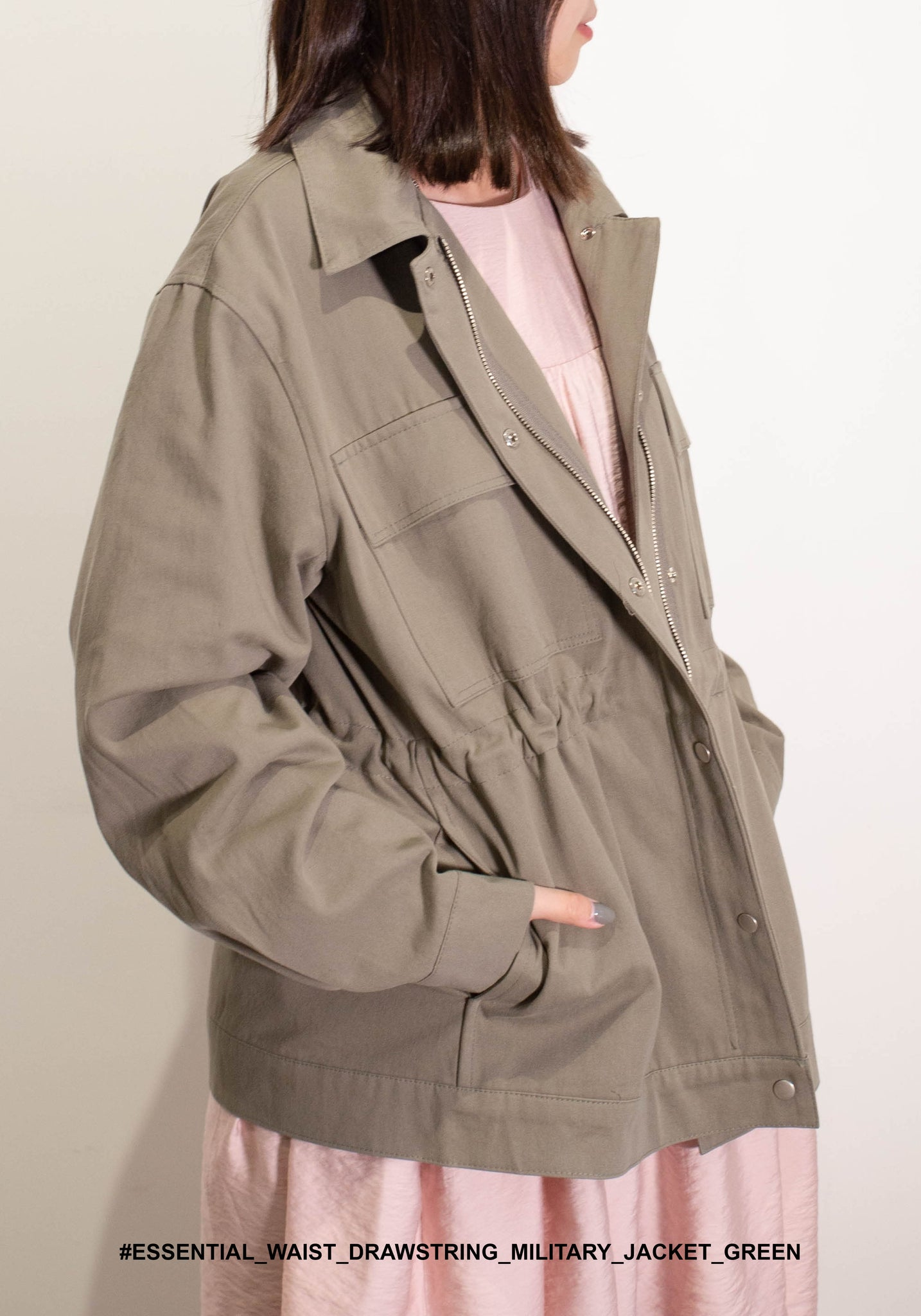 Essential Waist Drawstring Military Jacket Green - whoami