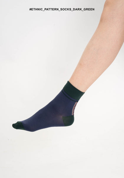 Ethnic Pattern Socks Dark Green - whoami