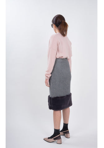 Faux Fur Pencil Skirt Grey - whoami