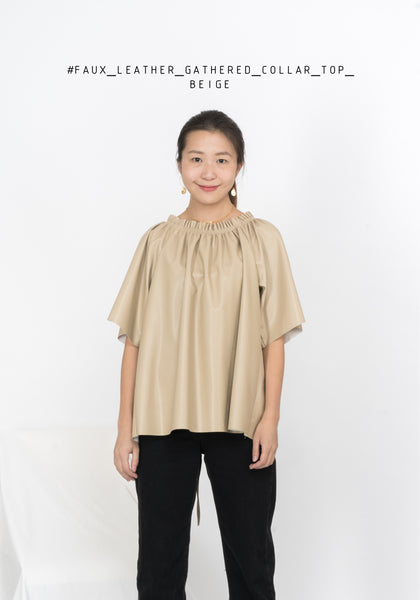 Faux Leather Gathered Collar Top Beige