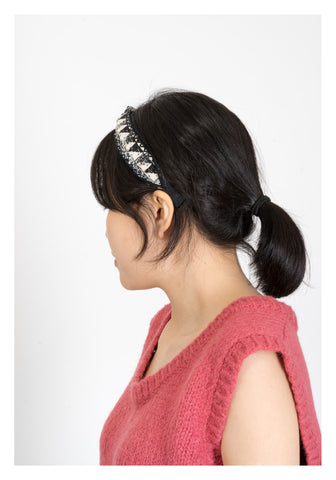 Faux Pearl Triangle Tweed Headband - whoami