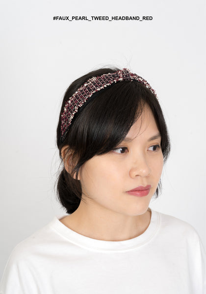 Faux Pearl Tweed Headband Red - whoami