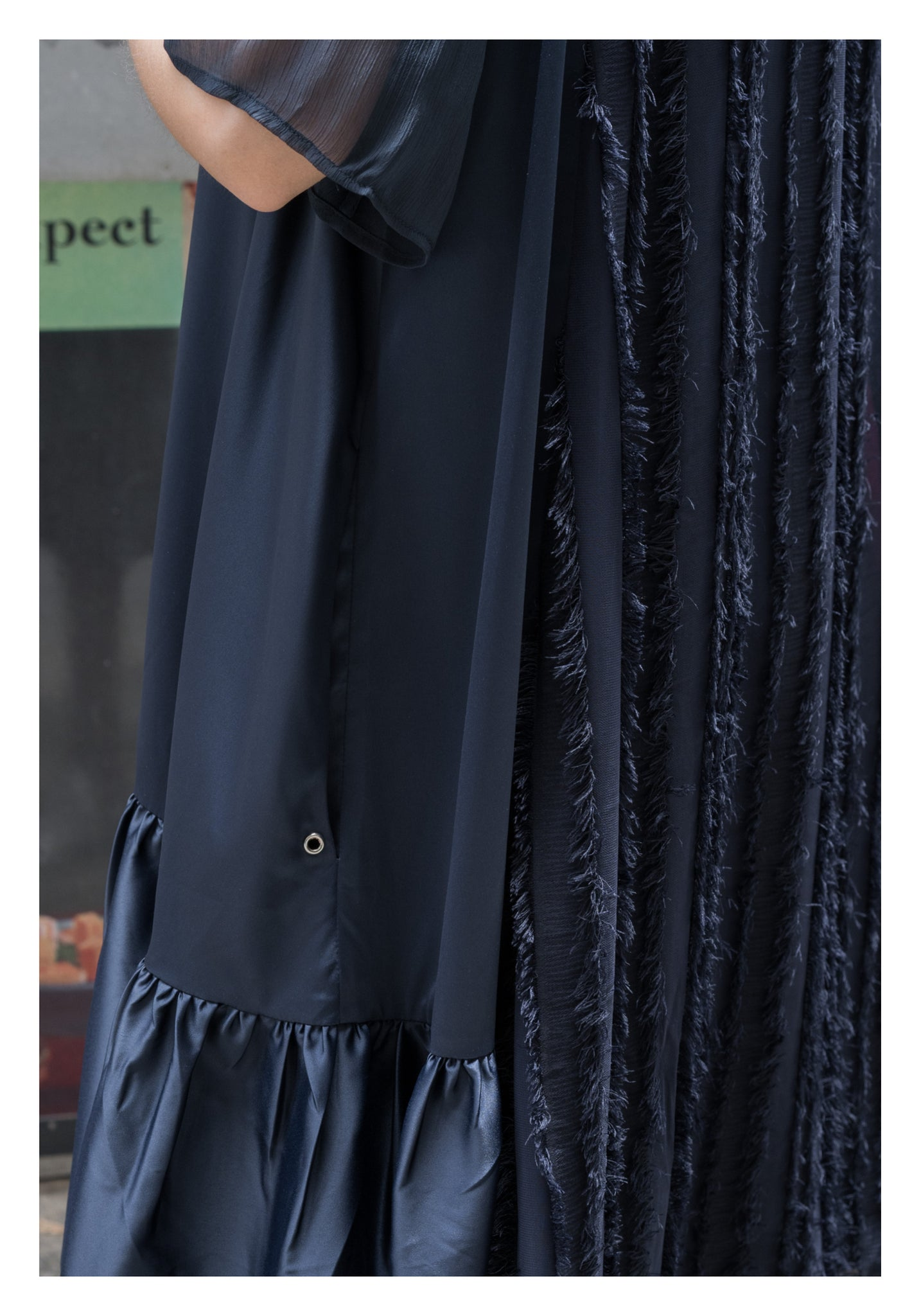 Feather Back Satin Doll Dress Navy - whoami