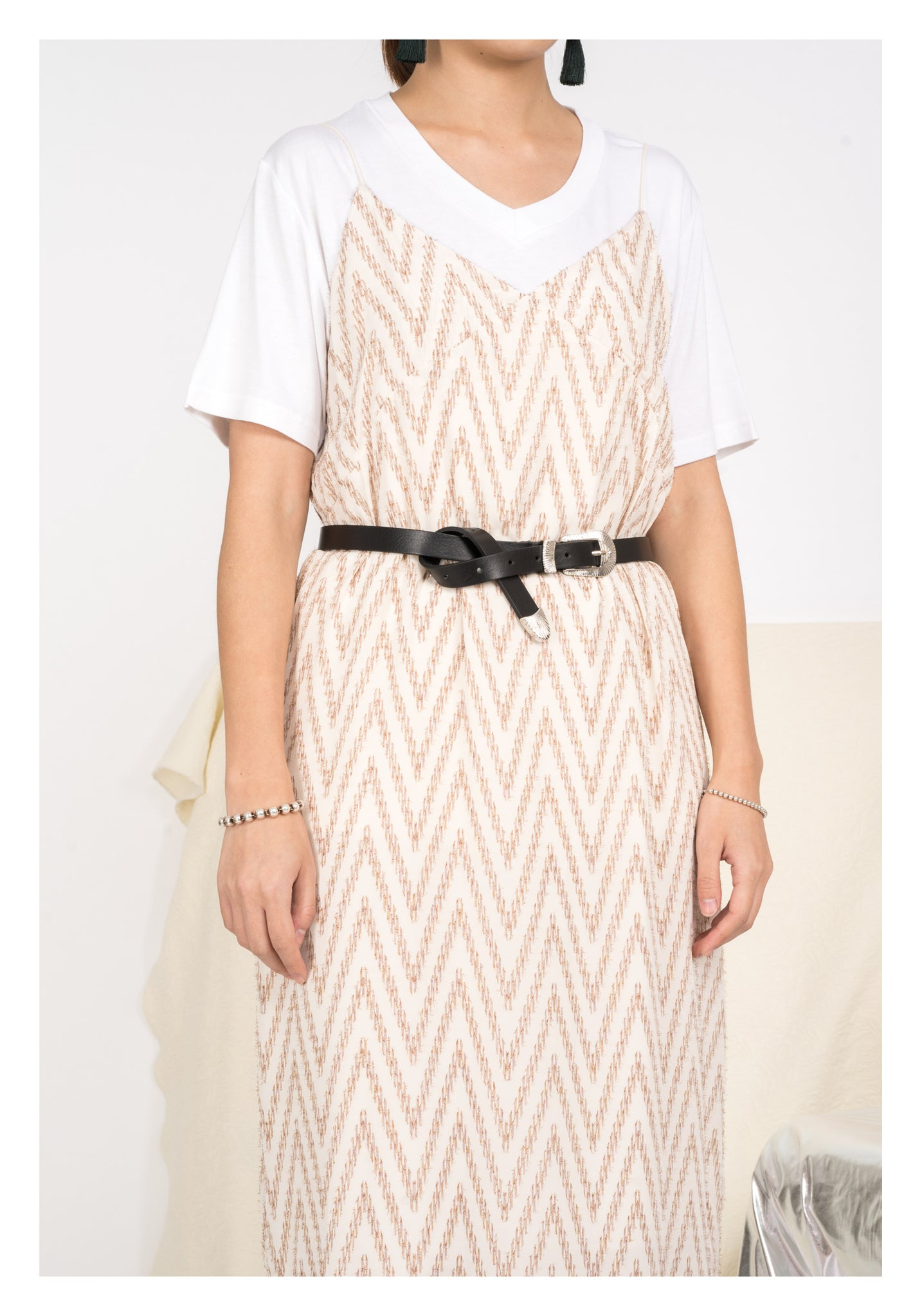 Fil Coupe V Vest Dress Ivory