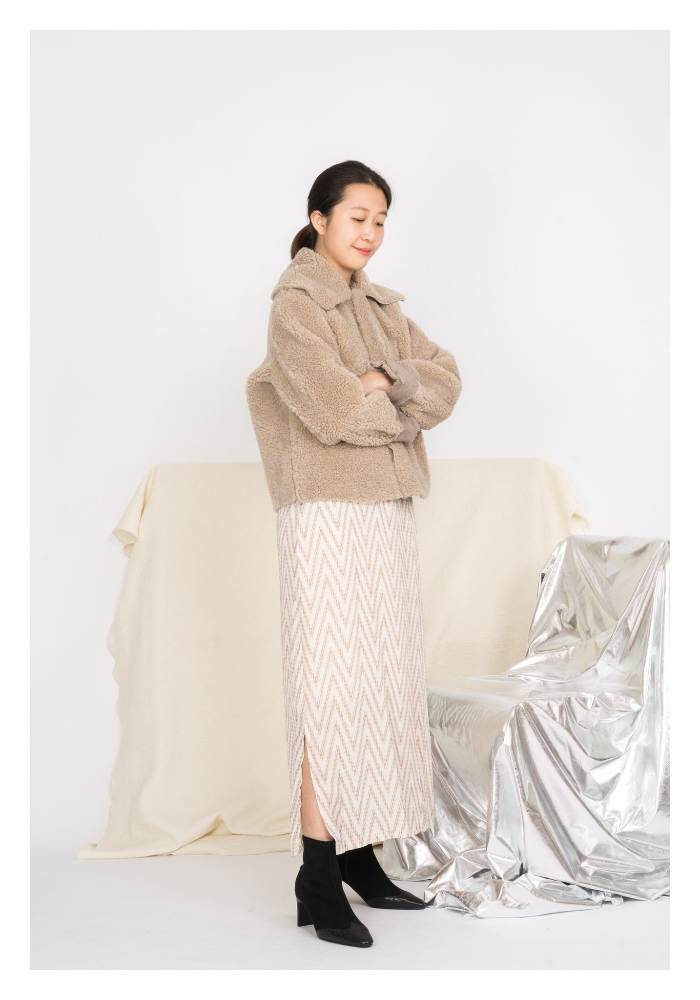 Shearling Oversize Collar Coat