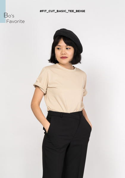 Fit Cut Basic Tee Beige