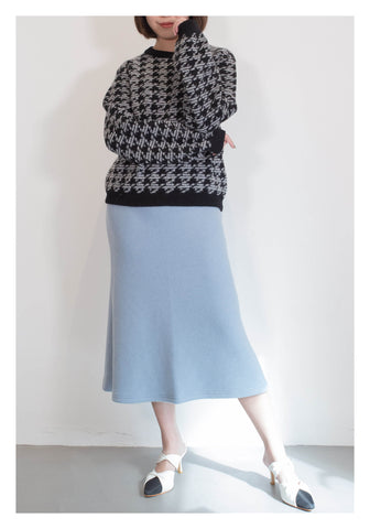Flare Wool Skirt Blue - whoami