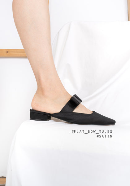 Flat Bow Mules Satin