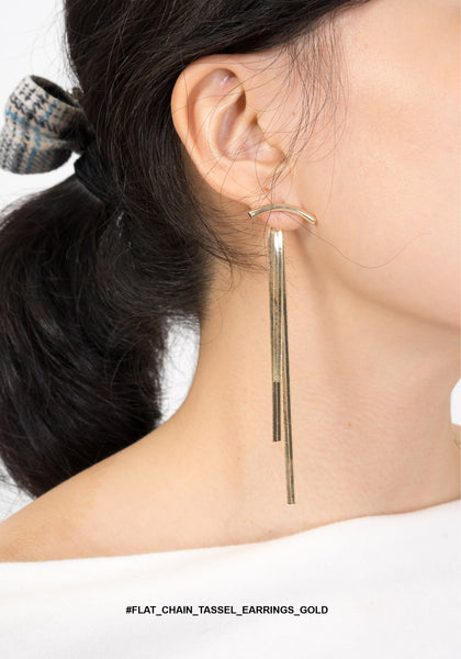 Flat Chain Tassel Earrings Gold